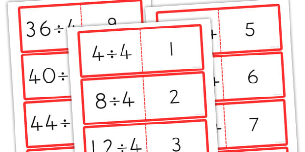 4 Times Table Division Cards - australia, division, cards, times