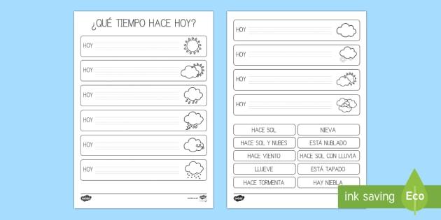 Ficha de completar la frase: El tiempo   - El tiempo y las estaciones del año, proyecto, decoración de la clase, escritura, vocabulario,Spani