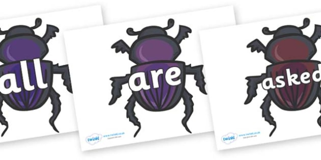 Tricky Words on Egyptian Beetles (Scarab) - Tricky words, DfES Letters and Sounds, Letters and sounds, display, words