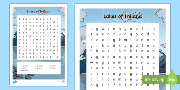Lakes of Ireland Word Search