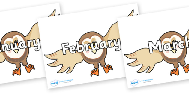 Months of the Year on Hullabaloo Owl to Support Teaching on Farmyard Hullabaloo - Months of the Year, Months poster, Months display, display, poster, frieze, Months, month, January, February, March, April, May, June, July, August, September