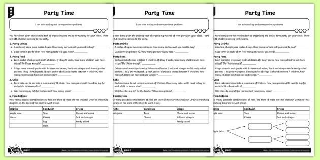 Party Time Scaling and Correspondence Problems Activity Sheets - Y4 Multiplication and Division Planit Maths, multiply, groups of, lots of, product, times, sets of,