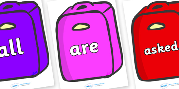 Tricky Words on Suitcases - Tricky words, DfES Letters and Sounds, Letters and sounds, display, words