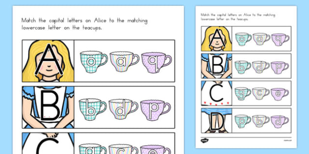 Alice in Wonderland Themed Capital Letter Matching Activity - australia