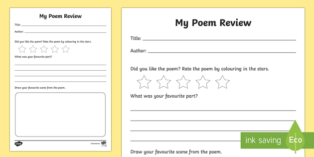 Poem Review Writing Frames - Book Review Writing Frame - Book