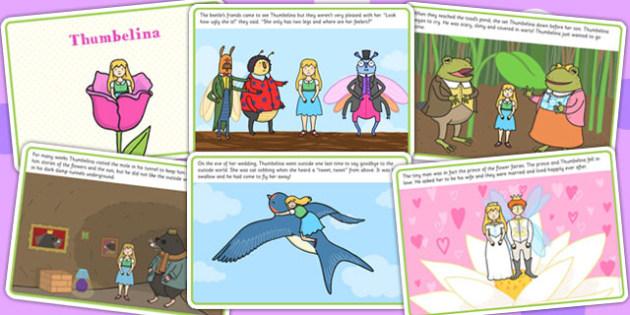 Thumbelina Story Cards - story books, reading, visual aid, read