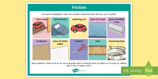 Science Surface Friction Investigation Prompt Display Poster - science, SESE, investigation, experiment, equipment, resources, open-ended, prompt question, procedu