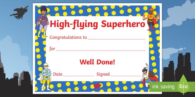 Highflying Hero Award Certificate - Highflying Hero, Hero, Superhero, Hero Award Certificate, Hero Certificate, Certificate