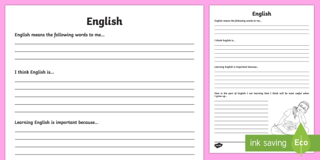 English Reflection Writing Template