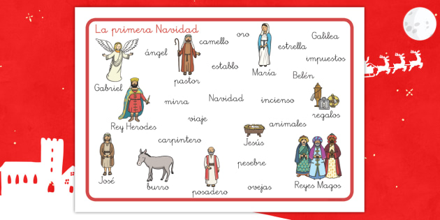 Tapiz de vocabulario: La primera Navidad - palabras, vocabulario clave, natividad, navidad, navideño - palabras, vocabulario clave, natividad, navidad, navideño