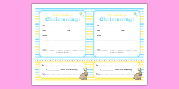 Christening Invitation - Christening, baptism, naming ceremony, baby, party, invitation