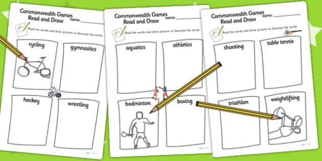 The Commonwealth Games Read and Draw Worksheet - sports, display