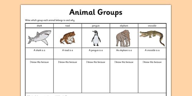 Animal Group Worksheet - grouping animals, classifying animals, classifying animals worksheet, mammals fish and reptiles worksheet, living things, ks2