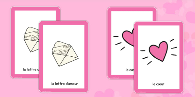 Valentine's Day Pairs Matching Game French - french, valentines, day, pairs