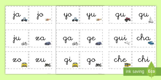 Tarjetas de sílabas: Transporte  - Transporte, proyecto, coche, avión, tren, bici, bicicleta, helicóptero, camión, coete, furgoneta,