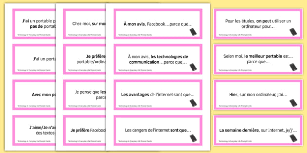 General Conversation Question Prompt Cards Technology in Everyday Life - french, Conversation, Speaking, Questions, Teschnology, Technologie, Social Media, Mobile, Internet, Computer, Ordinateur, Portable, Réseaux, Sociaux, Cartes