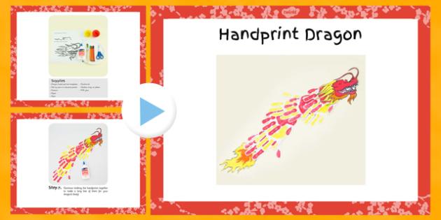 Handprint Dragon Craft Instructions - craft, dragon, handprint, instructions