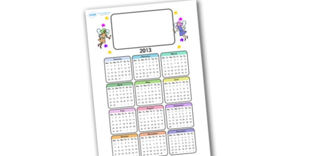 Editable 2013 Calendar Fairy - calendar, editable calendar, months of the year, display calendar, fairy, fairy calendar, fairy themed calendar, display, display poster, poster, the year, 2013, 2013 calendar
