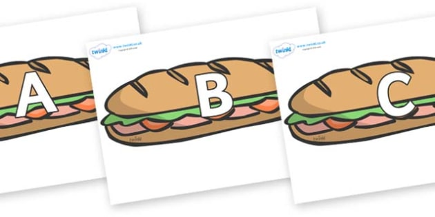 A-Z Alphabet on Sandwiches - A-Z, A4, display, Alphabet frieze, Display letters, Letter posters, A-Z letters, Alphabet flashcards