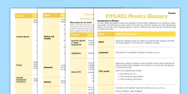 Phonics Glossary A Guide For Parents Polish Translation-Polish-translation