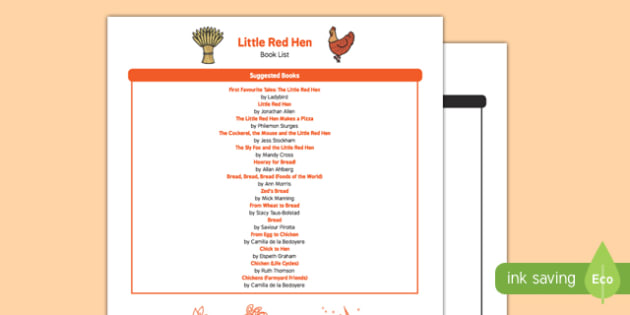 The Little Red Hen Book List - EYFS, Early Years, KS1, traditional stories, farm, wheat, bread, chicken, harvest
