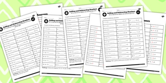 Mixed Number Facts to 20 Worksheet Pack - number facts, 20, pack