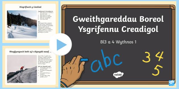 Pŵerbwynt Gweithgareddau Boreol Blwyddyn 3 a 4 Ysgrifennu Creadigol Wythnos 1 - Welsh Requests in Welsh,Welsh