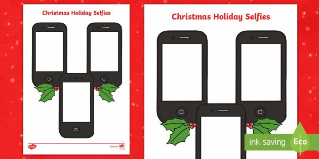 Christmas Holiday Selfies Activity Sheets - christmas, selfies, worksheet