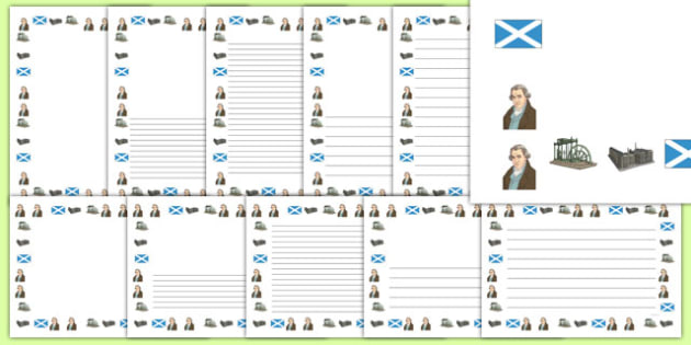 Scottish Significant Individuals James Watt Page Borders - james, watt, scotland, scot, scots, famous, history, hero, heroes, cfe, curriculum, excellence, pages, border, writing, frames, lines, lined