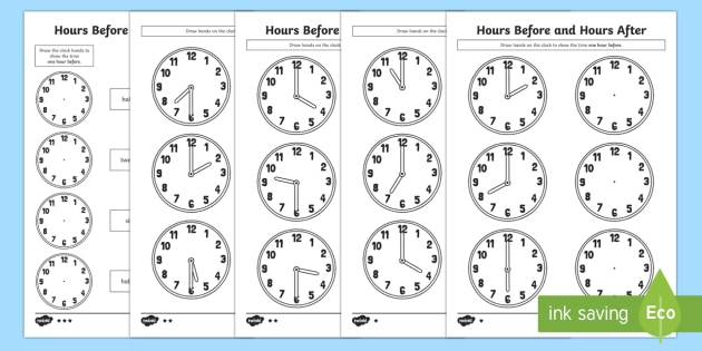 Hours Before and Hours After Differentiated Activity Sheets - Measurement, measures, measuring time in hours, telling the time, hours before and hours after.