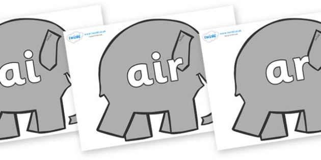 Phase 3 Phonemes on Elephants to Support Teaching on Elmer - Phonemes, phoneme, Phase 3, Phase three, Foundation, Literacy, Letters and Sounds, DfES, display