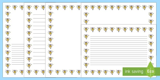 Smiley Pencil Page Borders- Portrait Page Borders - Page border, border, writing template, writing aid, writing frame, a4 border, template, templates, landscape