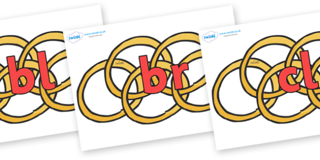 Initial Letter Blends on Five Gold Rings - Initial Letters, initial letter, letter blend, letter blends, consonant, consonants, digraph, trigraph, literacy, alphabet, letters, foundation stage literacy