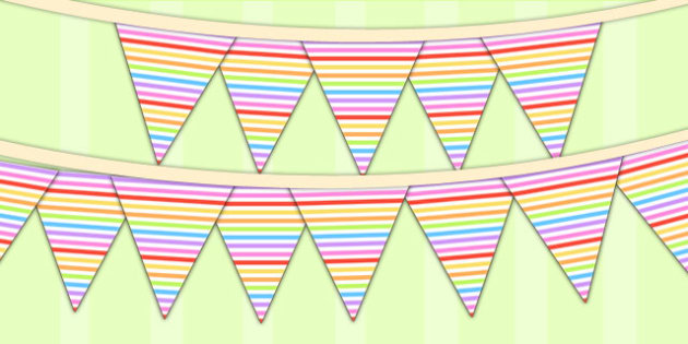 Rainbow Themed Birthday Party Patterned Bunting - parties, flags
