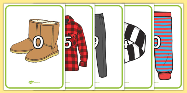 Numbers 0-20 on Clothing - Foundation Numeracy, Number recognition, Number flashcards, clothing line, clothing, counting, 0-20