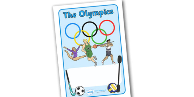 The Olympics Workbook Cover - Olympics, Olympic Games, workbook cover, cover, workbook, sports, Olympic, London, images, editable, event, picture, 2012, activity, Olympic torch, medal, Olympic Rings, mascots, flame, compete, events, tennis, athlete,