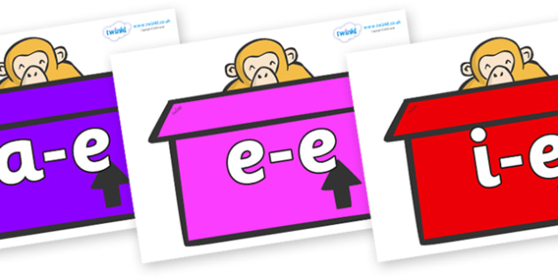 Modifying E Letters on Monkeys (Box) to Support Teaching on Dear Zoo - Modifying E, letters, modify, Phase 5, Phase five, alternative spellings for phonemes, DfES letters and Sounds