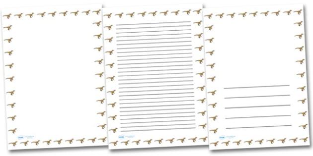 Velociraptor Portrait Page Borders- Portrait Page Borders - Page border, border, writing template, writing aid, writing frame, a4 border, template, templates, landscape