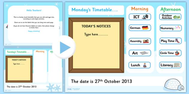 KS1 Visual Timetable Interactive PowerPoint Winter - KS!, timetable, interactive, powerpoint, winter, winter powerpoint, interactive powerpoint, visual