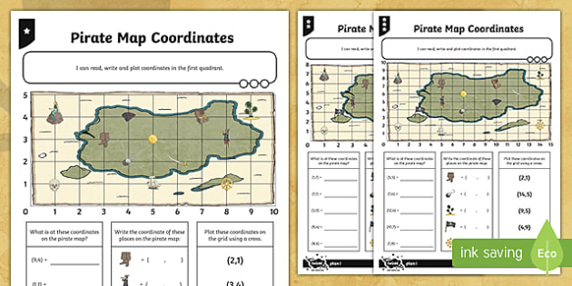 Map Coordinates Differentiated Activity Sheets - Position, direction, coordinates, map coordinates, co-ordinates