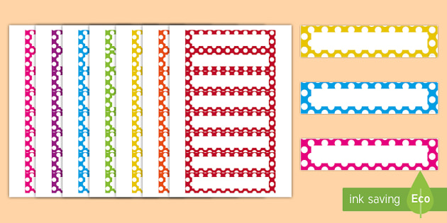 Multicoloured Polka Dot Editable Drawer Peg Name Labels - polka dot, multicoloured, editable, drawer, peg, name, labels