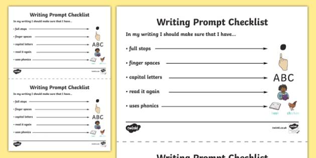 Writing Prompt Checklist - writing, prompt, writing prompt, checklist, check list