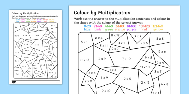 Colour by Multiplication to 12x12 Activity Worksheet colour – Multiplication Activity Worksheets