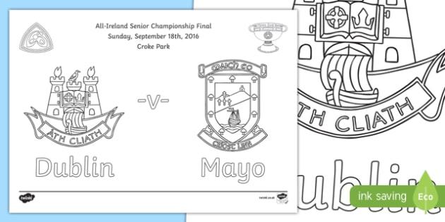 All Ireland Senior Championship Final Colouring Page-Irish