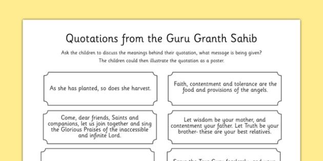 Guru Granth Sahib Quotes Discussion Activity - sikhism, RE