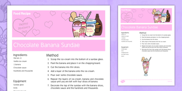 Mother's Day Chocolate Banana Sundae Recipe - australia, Mother's Day, cooking, recipes, procedure, chocolate banana sundae, dessert, reading, food