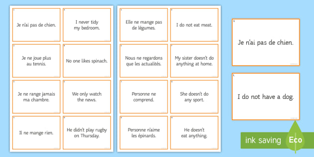 Negatives Matching Cards - French, translation, grammar, negative.