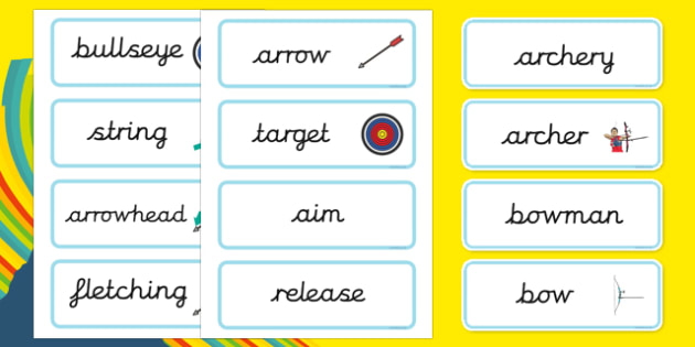 The Olympics Archery Word Cards - Olympics, Olympic Games, sports, Olympic, London, 2012, word card, flashcards, cards, Olympic torch, flag, countries, medal, Olympic Rings, mascots, flame, compete, archery, archer, bowman, bow, arrow, target, aim, b