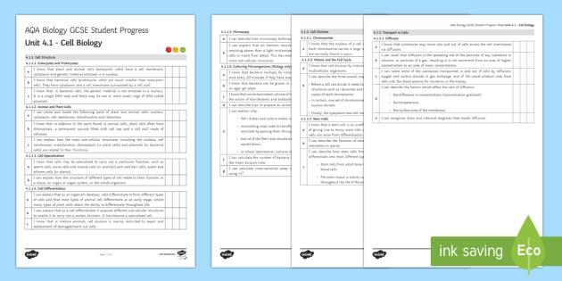 AQA Biology Unit 4.1 Cell Biology Student Progress Sheet - Student Progress Sheets, AQA, RAG sheet, Unit 4.1 Cell Biology
