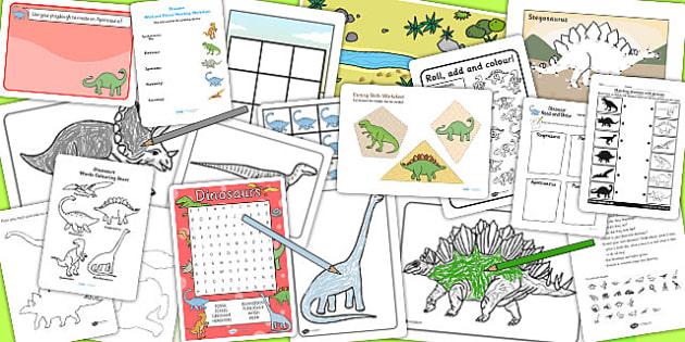 KS1 Dinosaur Activity Pack - prehistoric, dinosaur games, games
